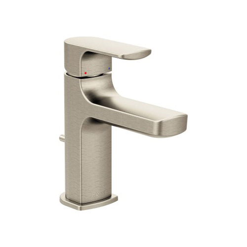 Moen® 6900BN Rizon™ Bathroom Faucet, 1.2 gpm, 3-27/64 in H Spout, 1 Handle, Lift Rod Drain, 1 Faucet Hole, Brushed Nickel, Domestic