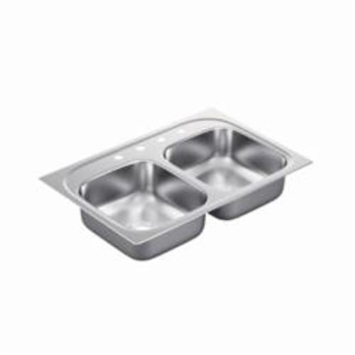 Moen® 2200 Kitchen Sink, Rectangle, 14 in H x 15-1/2 in W x 6-1/2 in D, Drop-In Mount, Stainless Steel, Stainless Steel