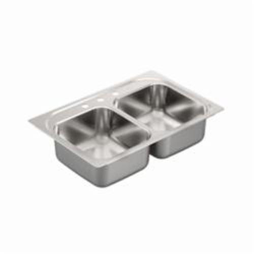 Moen® 2200 Kitchen Sink, Rectangle, 14 in L x 16 in W x 8 in H, Drop-In Mount, Stainless Steel, Stainless Steel