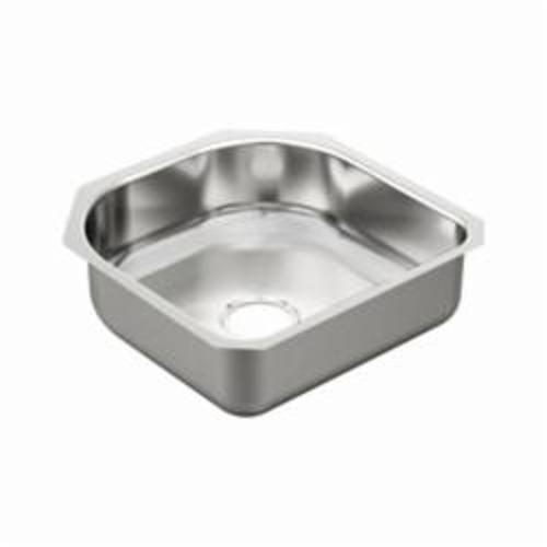 Moen® 2000 Kitchen Sink, Square, 18 in L x 18 in W x 16-1/2 in H, Undermount Mount, Stainless Steel, Stainless Steel
