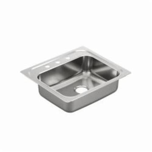 Moen® 2000 Kitchen Sink, Rectangle, 21 in L x 16 in W x 7 in H, Drop-In Mount, Stainless Steel, Stainless Steel