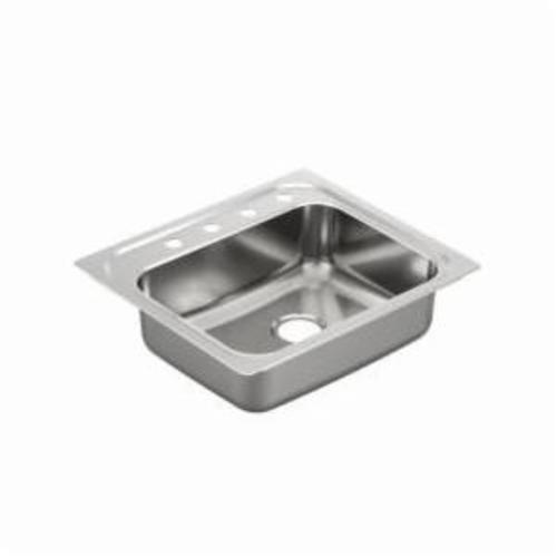 Moen® 2000 Kitchen Sink, Rectangle, 21 in L x 16 in W x 7 in H, Drop-In Mount, Stainless Steel, Stainless Steel