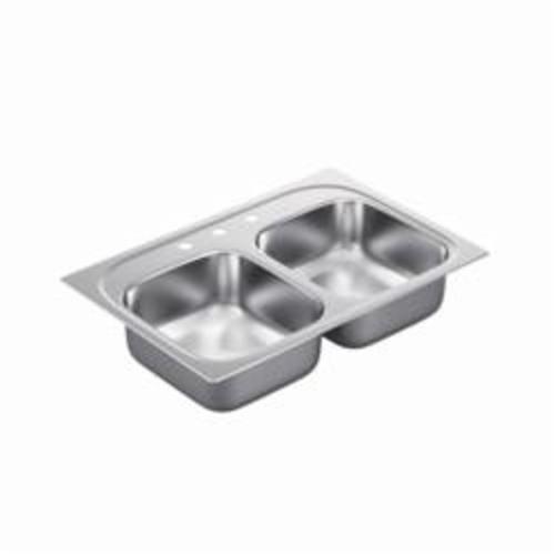 Moen® 2000 Kitchen Sink, Rectangle, 14 in L x 16 in W x 7 in H, Drop-In Mount, Stainless Steel, Stainless Steel