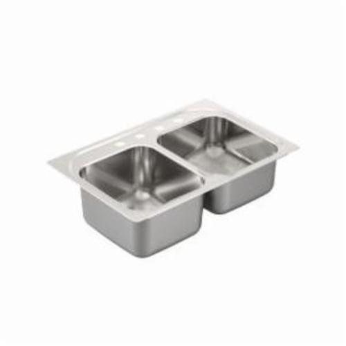 Moen® 2000 Kitchen Sink, Rectangle, 14 in L x 16 in W x 9 in H Left, 14 in L x 16 in W x 7 in H Right, Drop-In Mount