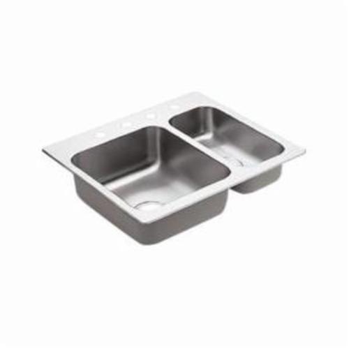Moen® 2000 Kitchen Sink, Rectangle, 14 in L x 16 in W x 7 in H Left, 7-1/2 in L x 16 in W x 5 in H Right, Drop-In Mount