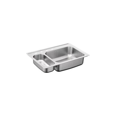 Moen® 2000 Kitchen Sink, Rectangular, 7-1/2 in L x 16 in W x 5-1/2 in D Left, 21 in L x 16 in W x 8 in D Right