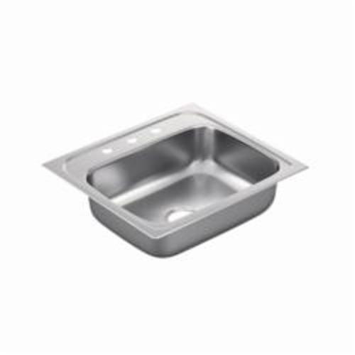 Moen® 2200 Kitchen Sink, Rectangle, 21 in L x 15-1/2 in W x 7 in H, Drop-In Mount, Stainless Steel, Stainless Steel