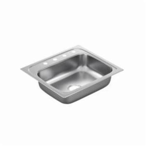 Moen® 2200 Kitchen Sink, Rectangle, 21 in L x 15-1/2 in W x 6-1/2 in H, Drop-In Mount, Stainless Steel, Stainless Steel