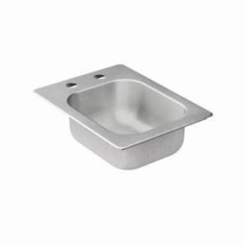 Moen® 2000 Kitchen Sink, Rectangle, 12 in L x 10 in W x 5-1/2 in H, Drop-In Mount, Stainless Steel, Stainless Steel