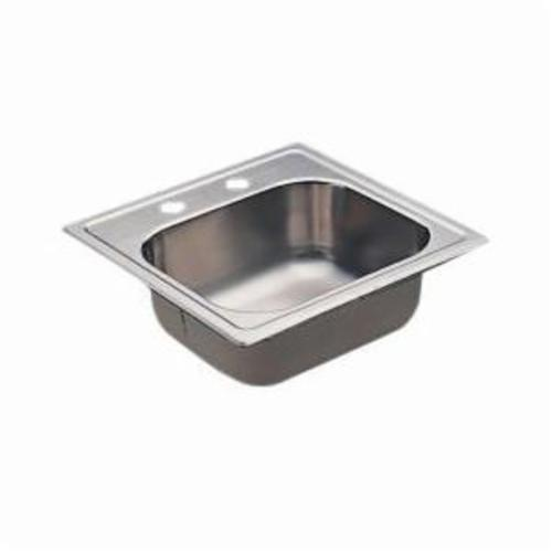 Moen® 2000 Kitchen Sink, Square, 12 in L x 10 in W x 5-1/2 in H, Drop-In Mount, Stainless Steel, Stainless Steel
