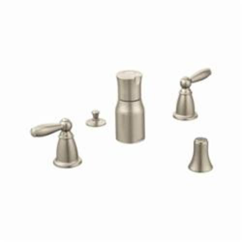 Moen® T5225BN Brantford™ Widespread Bidet Faucet, 2.5 gpm, 8 to 16 in Center, 2 Handles, Pop-Up Drain, Brushed Nickel, Import