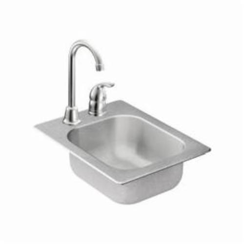Moen® 2000 Kitchen Sink, Rectangle, 10 in L x 12 in W x 5-1/2 in H, Drop-In Mount, Stainless Steel, Stainless Steel