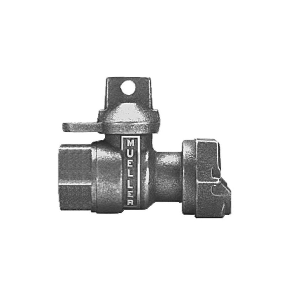 Mueller Co B-24351N 3/4 Straight Meter Ball Valve, 3/4 in, FNPT x Meter Swivel Nut, Brass Body