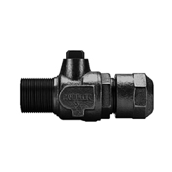 Mueller Co 300™ B-25028N 3/4 Ball Corporation Stop Valve, 3/4 in, AWWA IP Threaded Outlet x 110 CTS, Brass Body