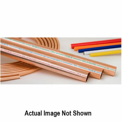 Streamline® MH04010 Type M Hard Temper Tubing, 1/2 in, 5/8 in OD x 10 ft L, Straight, 0.028 in THK Wall, Copper, Domestic