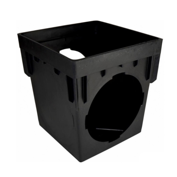 NDS® 1200 Catch Basin, 12 x 12 in, 2 Outlets, Polypropylene, Black, Domestic