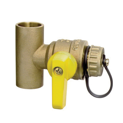 Webstone T-Drain™ Clean Brass™ Pro-Pal® 5067 Lead Free T-Drain With Hi-Flow Hose Drain, 1-1/4 in, C, 600 psi WOG, Brass