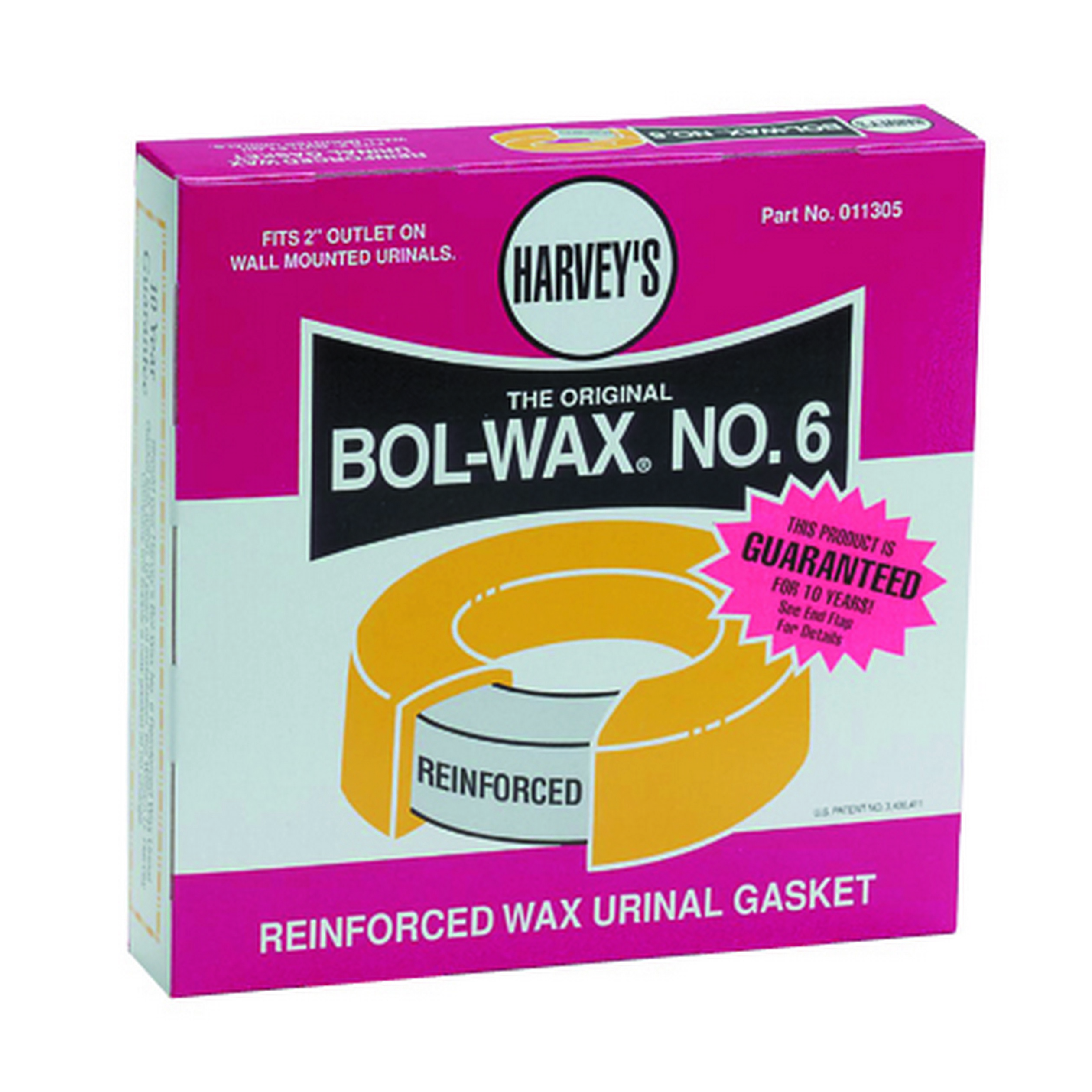 William H. Harvey 011305 Bol-Wax® No. 6 Specialty Reinforced Wax Gasket, For Use With Floor or Wall Outlet Toilet Bowl