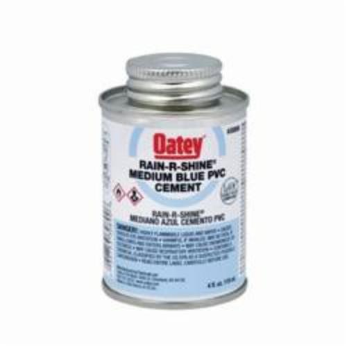 Oatey® Rain-R-Shine® 30890 Medium PVC Cement, 4 oz Can, Translucent Liquid, Blue, 0.92