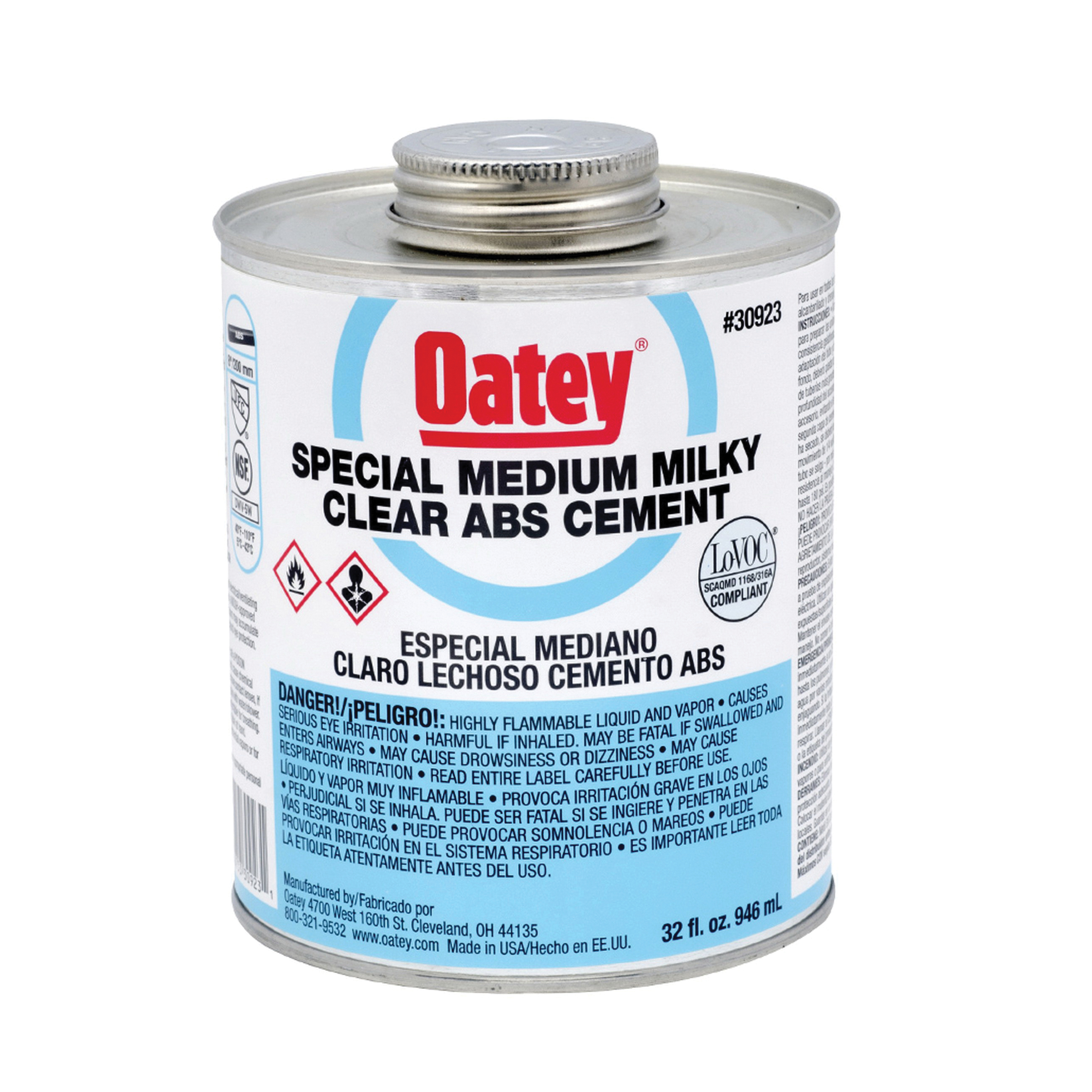 Oatey® 30923 Special Low VOC ABS Solvent Cement, 32 oz, Liquid, Milky Clear, 0.89 +/- 0.02