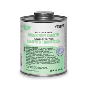 Oatey® 30926 Low VOC ABS to PVC Transition Solvent Cement, 32 oz Can, Translucent Liquid, Green, 0.92