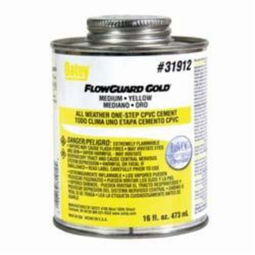 Oatey® FlowGuard Gold® 31912 1-Step All Weather CPVC Cement, 16 oz, Translucent Liquid, Yellow, 0.94