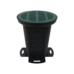Polylok™ 3017-12CG Drainage Box With (2) Seals and Grate, 12 in, 4 gal, Polypropylene, Black