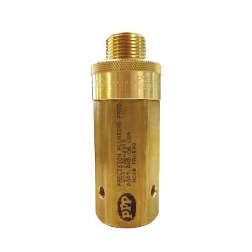 PPP® PR-500 Trap Primer Valve, 1-1/4 in, 4-3/8 in L, 1/2 in MNPT Inlet x 1/2 in FNPT Outlet, NO 360 Brass/NO 60 Stainless Steel/NO 7 Silicon