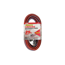 PRIME® KCPL507825 Jobsite Locking Outdoor Extension Cord With Primelok® Locking Connector and Primelight® Indicator Light, 15 A 125 VAC 1875 W, SJTW, 25 ft L Cord, 3 Conductors