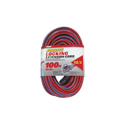 PRIME® KCPL507835 Jobsite Locking Outdoor Extension Cord With Primelok® Locking Connector and Primelight® Indicator Light, 15 A 125 VAC 1875 W, SJTW, 100 ft L Cord, 3 Conductors