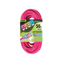 PRIME® NEON FLEX® NS513830 Extension Cord With Primelight® Indicator Light, 15 A 125 VAC 1875 W, SJTW, 50 ft L Cord, 3 Conductors