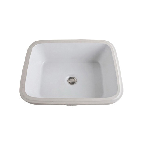 Rohl® 1542-00 Allia Bathroom Sink With Integral front overflow, Rectangle, 7-15/32 in H x 22-1/16 in W x 17-5/16 in D, Under Mount, Vitreous China, White