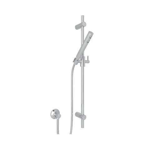 Rohl® 1600-APC Modern Spa Shower Tubular Shower Set, (1) 7-3/4 in Dia Shower Head, 2 gpm, 59 in L Hose, 1/2 in MNPT x 1/2 in FNPT, Polished Chrome