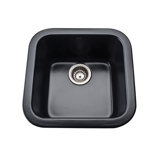 Rohl® 5927-63 Allia Bar/Food Prep Sink, Square, 17-7/8 in W x 17-1/2in D x 9 in H, Drop-In/Under Mount, Fireclay, Matte Black