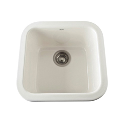 Rohl® 5927-68 Allia Bar/Food Prep Sink, Square, 17-7/8 in W x 17-1/2in D x 9 in H, Drop-In/Under Mount, Fireclay, Biscuit