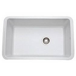 Rohl® 6307WH Kitchen Sink Without Overflow, Rectangular, 31-5/8 in W x 19-5/8 in D x 11 in H, Under Mount, Fireclay, White