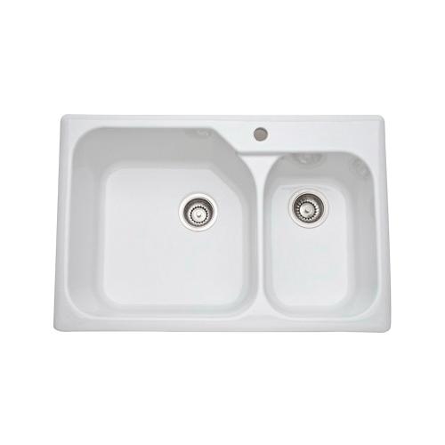 Rohl® 6317-00 Allia Kitchen Sink, Rectangular, 33-1/4 in W x 22 in D x 10-7/8 in H, Under Mount, Fireclay, White