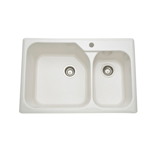 Rohl® 6317-68 Allia Kitchen Sink, Rectangular, 1 Faucet Holes, 33-1/4 in W x 22 in D x 10-7/8 in H, Drop-In Mount, Fireclay, Biscuit