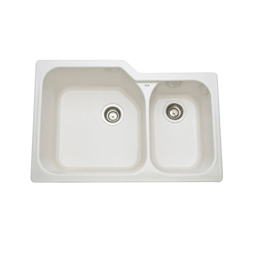 Rohl® 6337-68 Allia Kitchen Sink, Rectangular, 33 in W x 22 in D x 10-3/4 in H, Under Mount, Fireclay, Biscuit