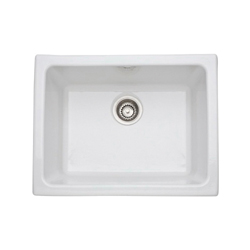 Rohl® 6347-00 Allia Kitchen Sink, Rectangular, 24 in W x 18-1/2 in D x 11 in H, Under Mount, Fireclay, White