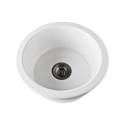 Rohl® 6737-00 Allia Bar/Food Prep Sink, Round, 18-1/8 in W x 7 1/4 in D, Drop-In/Under Mount, Fireclay, White