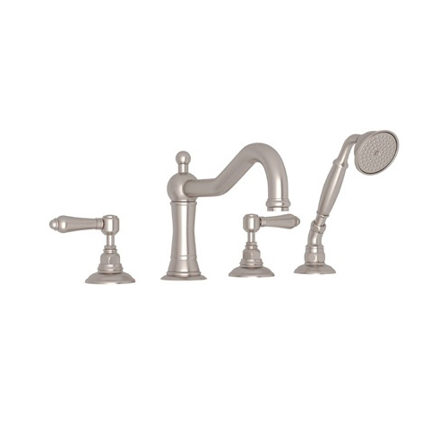 Rohl® A1404LM-STN Country Bath Acqui Tub Filler, 9 gpm, Satin Nickel, 2 Handles, Hand Shower Yes/No: Yes