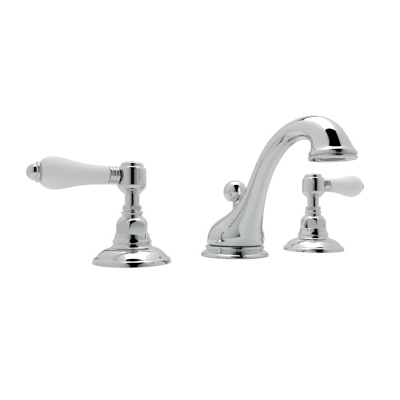 Rohl® A1408LP-APC-2 Country Bath Viaggio Widespread Lavatory Faucet, 1.2 gpm, 3-5/16 in H Spout, 15-3/4 in Center, Polished Chrome, 2 Handles