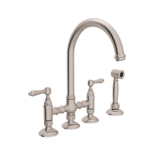 Rohl® A1461XMWS-STN-2 Italian Country Kitchen Three Leg Bridge Kitchen Faucet With Side Spray, 1.5 gpm, 8 in Center, Satin Nickel, 2 Handles