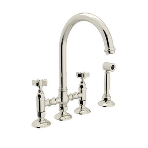 Rohl® A1461XWS-PN-2 Italian Country Kitchen Three Leg Bridge Kitchen Faucet With Side Spray, 1.5 gpm, 8 in Center, Polished Nickel, 2 Handles