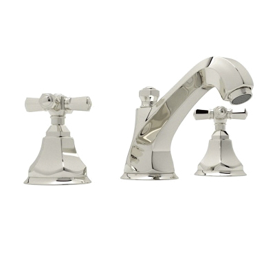 Rohl® A1908XM-PN-2 Transitional Palladian Widespread Lavatory Faucet, 1.2 gpm, 3-11/64 in H Spout, 8 in Center, Polished Nickel, 2 Handles