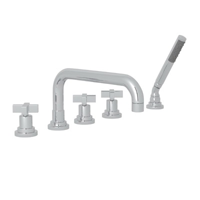 Rohl® A2224XM-APC Modern Bath Lombardia Tub Filler, 4 gpm, Polished Chrome, 3 Handles, Hand Shower Yes/No: Yes