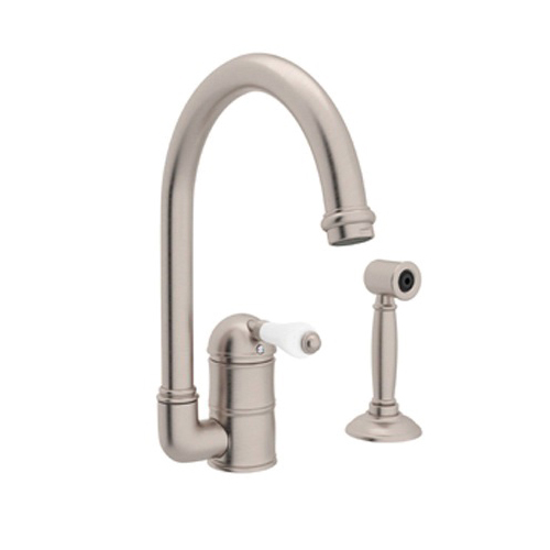 Rohl® A3606LMWS-STN-2 Country Kitchen Faucet With Side Spray, 1.5 gpm, 1 Handle, Satin Nickel