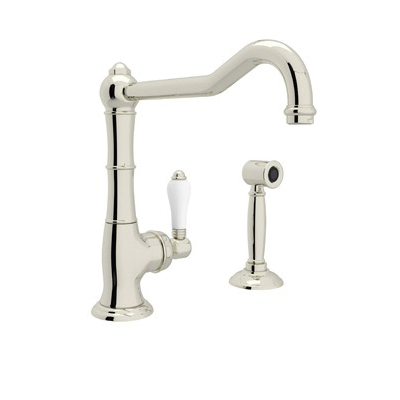 Rohl® A3650/11LMWS-PN-2 Italian Country Kitchen Cinquanta Kitchen Faucet With Side Spray and Extended Spout, 1.5 gpm, Polished Nickel, 1 Handle