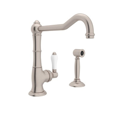 Rohl® A3650/11LMWS-STN-2 Italian Country Kitchen Cinquanta Kitchen Faucet With Side Spray and Extended Spout, 1.5 gpm, Satin Nickel, 1 Handle